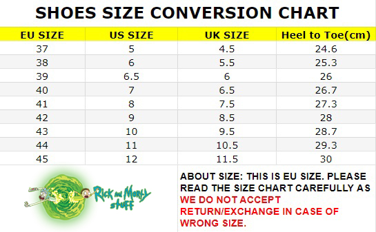 Rick And Morty Converse Size Chart
