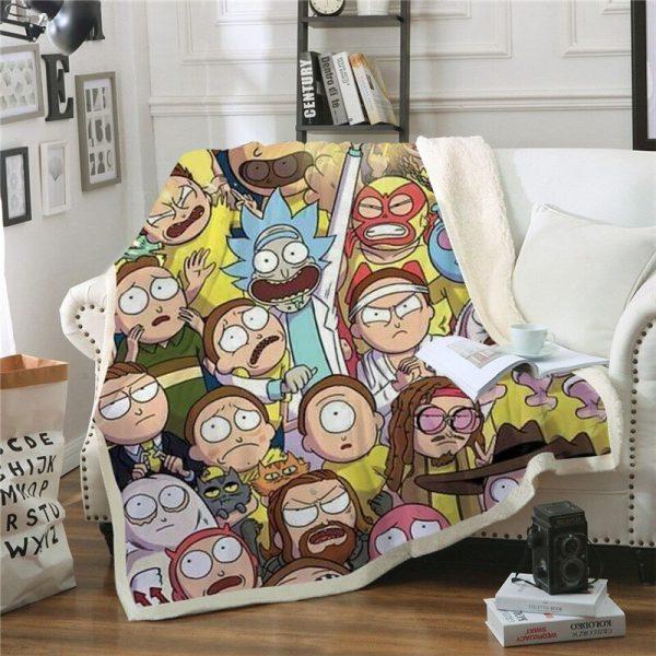 New Fashion Rick And Morty Plush Throw Blanket