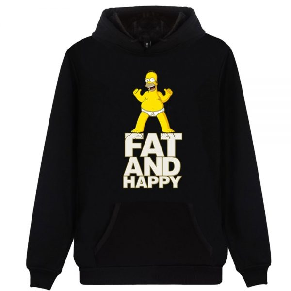 Anime The Simpsons Fat And Happy Hoodies