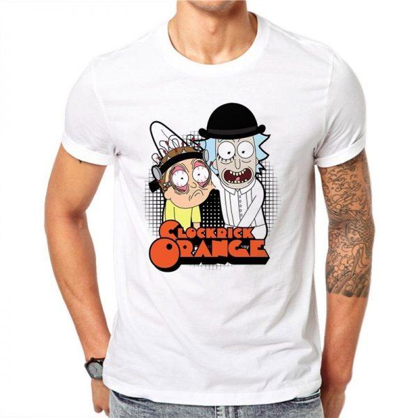 Clock Rick Orange White T-shirt