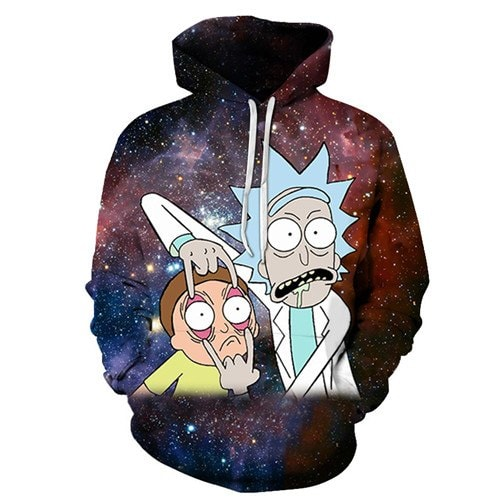 Rick And Morty Galaxy Background 3D Hoodie