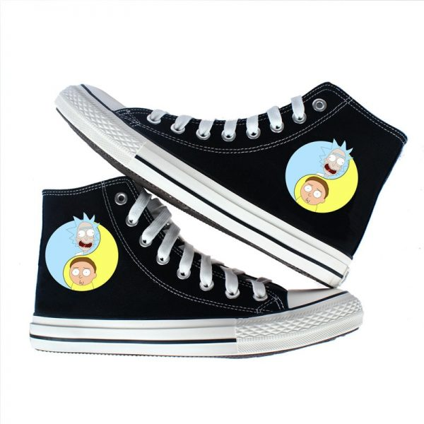 Blue & Yellow Rick And Morty Converse Shoes