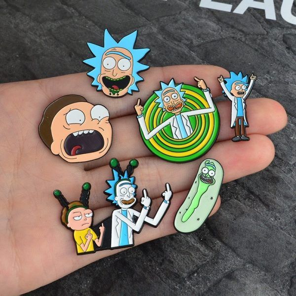 Rick and Morty Classic Cartoon Badge Buttons Brooch