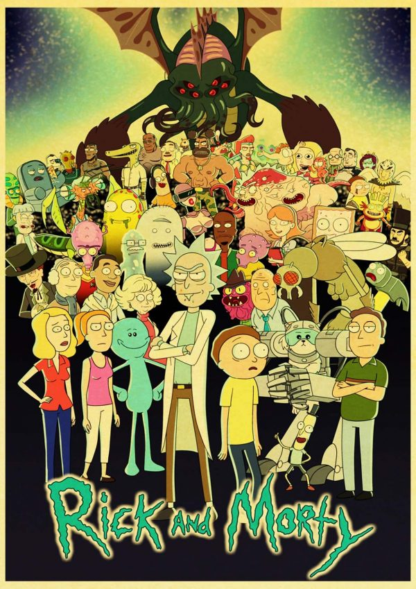Cartoon Rick And Morty Retro Poster