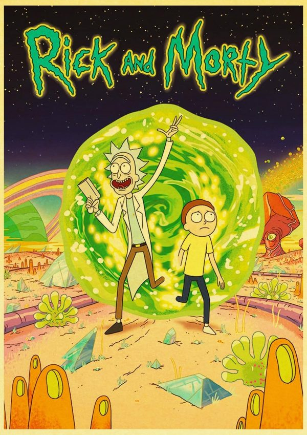 Hot 2020 Rick And Morty Retro Poster