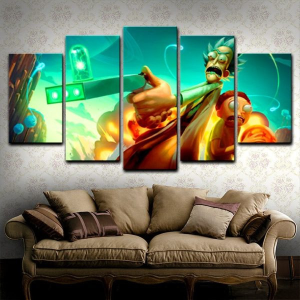 Funny 5 Pieces Rick And Morty Paintings Wallpapers