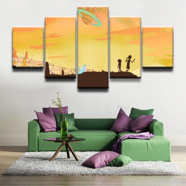 5 Pieces Rick And Morty Painting Canvas Wallpapers