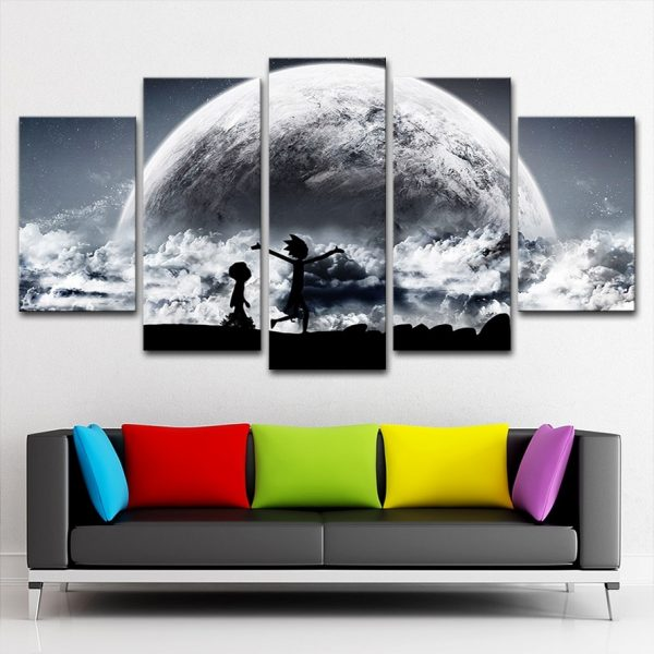 Rick And Morty Walking In The Sky Paintings Canvas Wallpapers