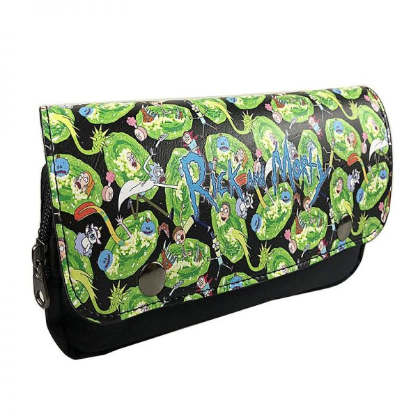 2020 Hot Rick And Morty Anime Green Black Long Wallet