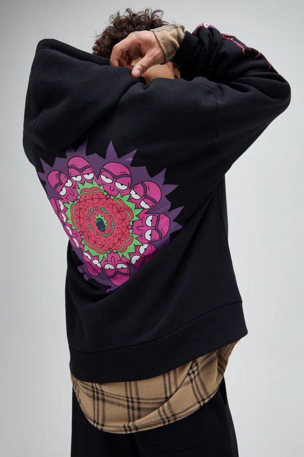 Black Rick & Morty contrast sweatshirt